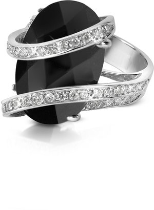 Del Gatto Onyx Diamond Channel 18K Gold Ring