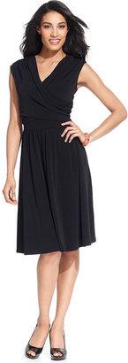 Charter Club Dress, Sleeveless Faux-Wrap A-Line