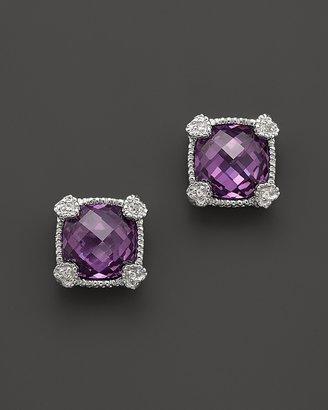 Judith Ripka Sterling Silver Small Cushion Stone Stud Earrings