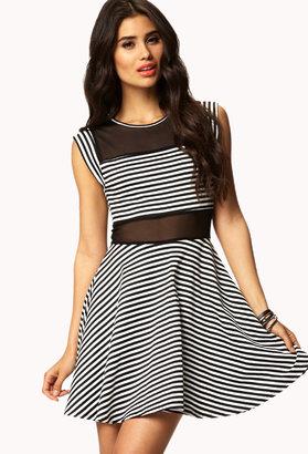 Forever 21 Striped & Mesh Skater Dress