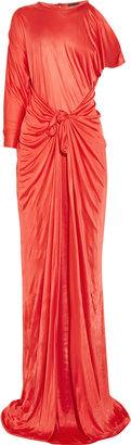 Halston Asymmetric satin-jersey gown