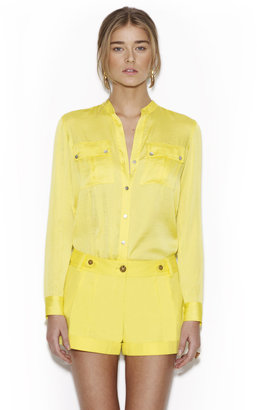 Vince Camuto Patch Pocket Button Front Top