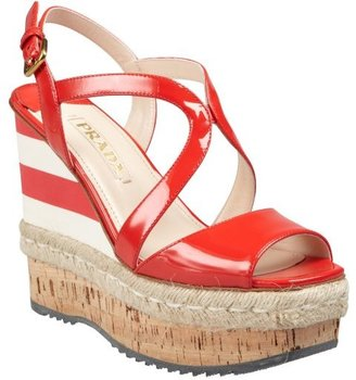 Prada red and cream patent leather strappy striped accent wedge sandals