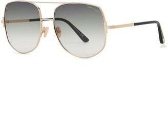 Tom Ford Lennox Gold-tone Aviator-style Sunglasses