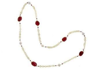 Rubie's Costume Co pristine (PR) 18K Vermeil with Pearl and Bezel set 25.00 Carat on a 34 Inch Necklace