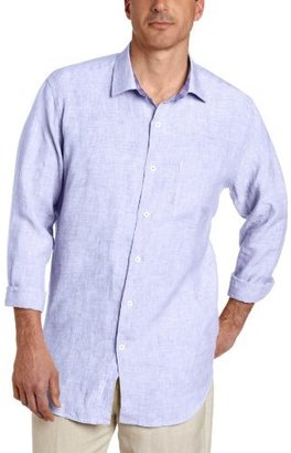Alex Cannon Men's Modern Washed Long Sleeve Solid Linen