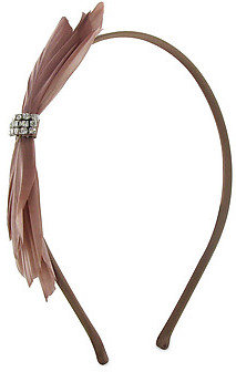 France Luxe Delicate Feather Bow Headband