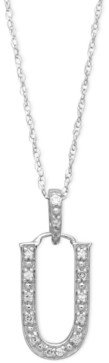 Macy's 14k White Gold Necklace, Diamond Accent Letter U