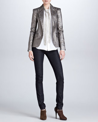 Ralph Lauren Black Label Danice Metallic Blazer, Gunmetal