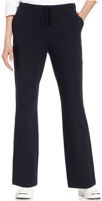 Karen Scott Straight-Leg Pull-On Ankle-Length Pants