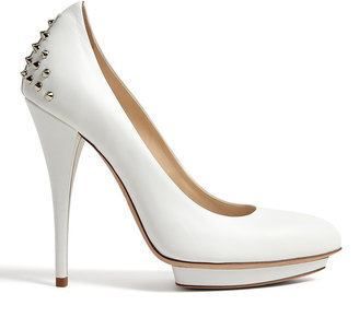 McQ Eggshell Studded Pointed Court Shoes
