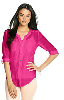 Amy Byer Solid Woven Button Front Shirt