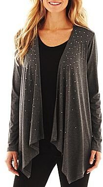 JCPenney Studded Open-Front Cardigan
