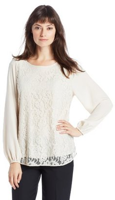 Chaus Women's Long Sleeve Lace Front Blouse