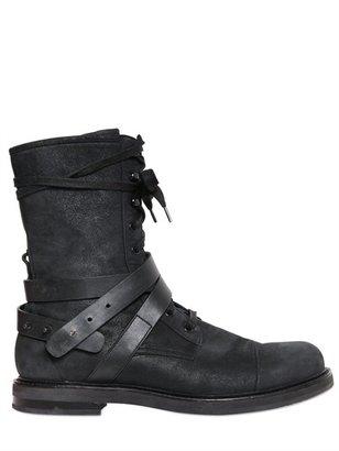 Balmain Pierre Waxed Suede Biker Boots