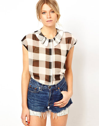Asos Blouse With Pleat Detail Collar In Check Mate Print