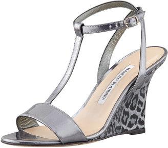 Manolo Blahnik Lette T-Strap Ankle-Wrap Wedge Sandal