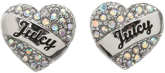 Juicy Couture Pave Heart Gifting Stud Earrings (Silver) - Jewelry
