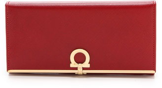 Salvatore Ferragamo Gancini Icona Continental Wallet $595 thestylecure.com