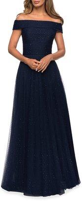 La Femme Off-the-Shoulder Rhinestone Embellished Tulle A-Line Gown