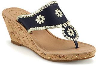 Jack Rogers Marbella Metallic Leather Cork Wedge Sandals