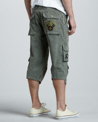 Robin's Jean Patch Detail Cargo Shorts, Green Marble