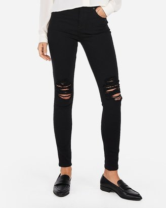 Express High Waisted Black Ripped Jean Leggings