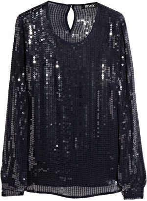 DKNY Sequined stretch-georgette top
