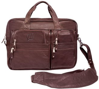 Wisconsin badgers leather computer briefcase