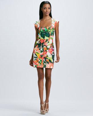 Nicole Miller Paneled Floral Cap-Sleeve Dress