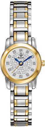 Bulova Women's Diamond (3/10 ct. t.w.) Two-Tone Stainless Steel Bracelet Watch 21mm 98P133