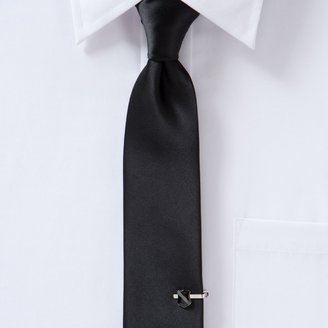 Apt. 9 Men's Satin Solid Skinny Tie with Shield Tie Chain