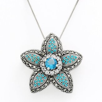 Sterling silver cubic zirconia, crystal & marcasite flower pin pendant