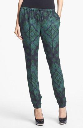 Haute Hippie Print Slim Leg Drawstring Pants