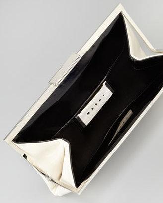 Marni Bicolor Framed Patent Clutch Bag, Gray/White