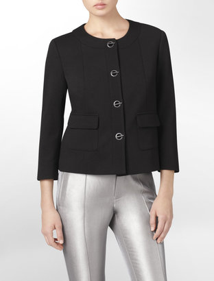 Calvin Klein Ponte Knit Toggle Suit Jacket