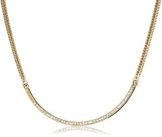 Vita Fede Half-Moon Rose with Clear Crystal Necklace