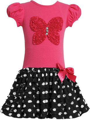 Bonnie Jean Kids Dress, Little Girls Polka Dot Ruffle Dress