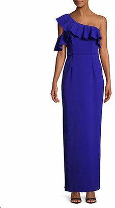 Betsy & Adam One-Shoulder Ruffled Floor-Length Gown