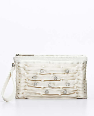 Ann Taylor Pave and Pearlized Bead Satin Clutch