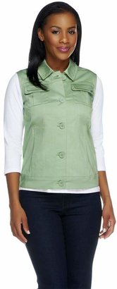Dennis Basso Stretch Cotton Button Front Multi-seam Vest