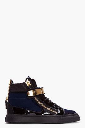 Giuseppe Zanotti Navy Velvet Veronica Sneakers