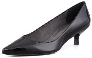Stuart Weitzman Poco Patent Leather Kitten-Heel Pump, Black