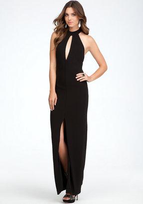 Bebe Keyhole Halter Gown