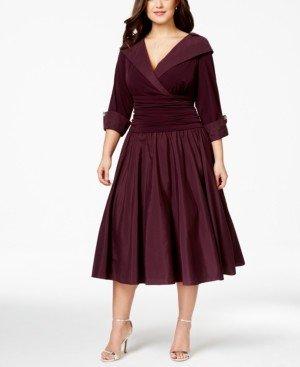 Jessica Howard Plus Size Portrait Collar A-Line Dress