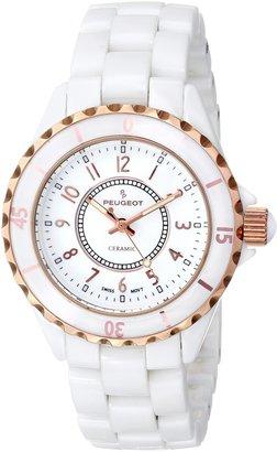 Peugeot Swiss Ladies White Genuine Ceramic Sport Bezel Watch PS4895RG