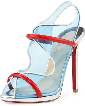 Christian Louboutin Aqua Ronda PVC Red Sole Sandal, Aquamarine