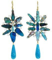 Irene Neuwirth Large Boulder Opal Flower Earrings with Turquoise Drops - Yellow Gold