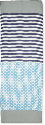 Jonathan Adler Nixon Mixed Pattern Oblong Scarf, Navy/Gray
