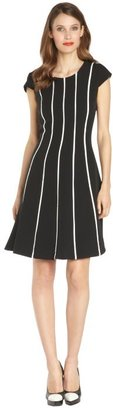 Hayden black and ivory striped a-line dress with piping